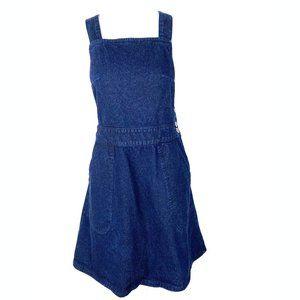 Free People dark denim jumper overall dress blue